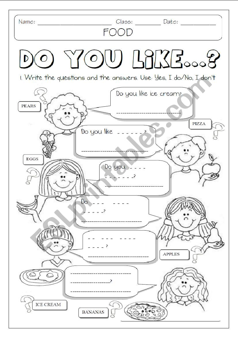 medium resolution of DO YOU LIKE + FOOD 1/2 - ESL worksheet by Makigi