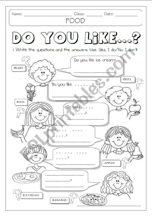 small resolution of DO YOU LIKE + FOOD 1/2 - ESL worksheet by Makigi