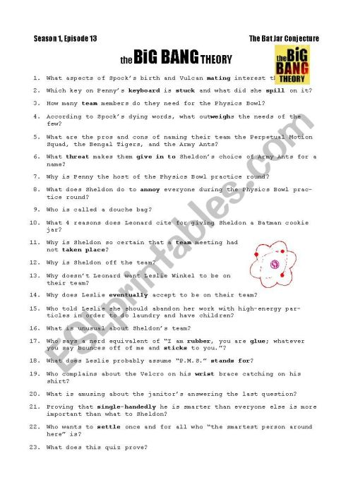 small resolution of Big Bang Theory Worksheet - Nidecmege
