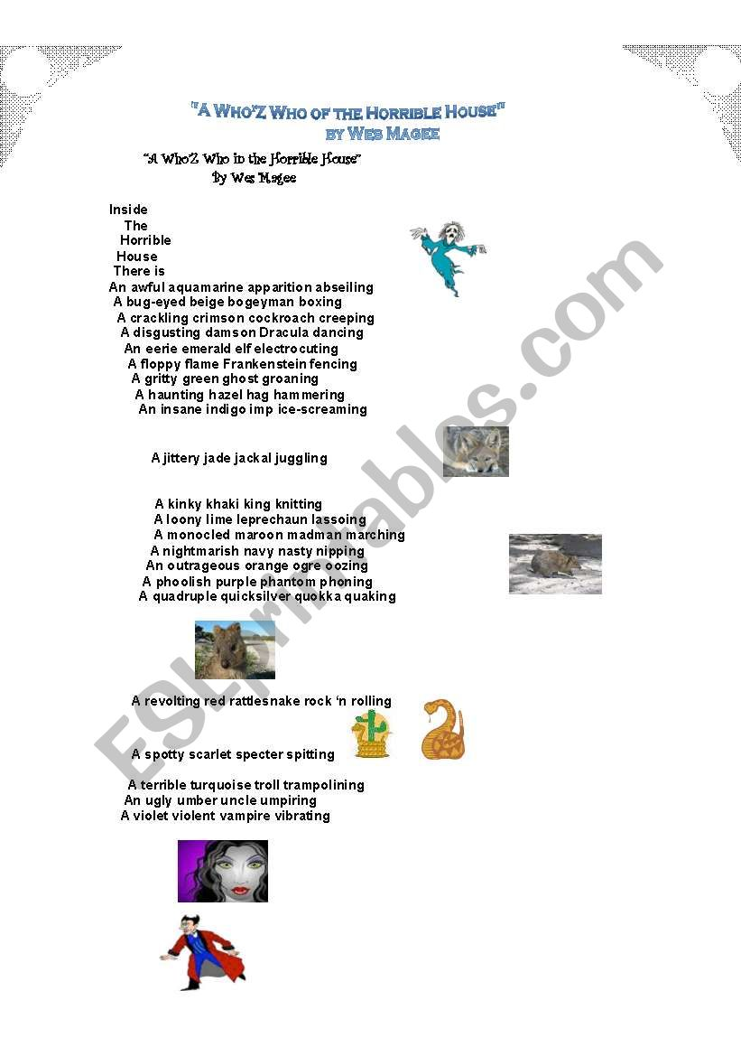 English worksheets: Alliteration in the poem