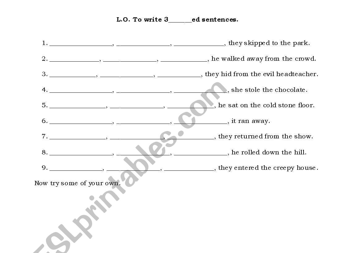 English Worksheets Writing 3 Ed Sentences