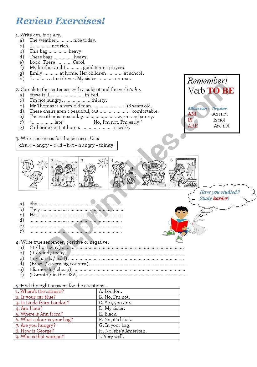 Review Exercises! To be , feelings and personal