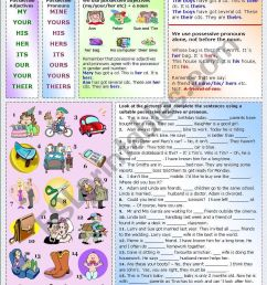 POSSESSIVE ADJECTIVES AND PRONOUNS (1-2) - ESL worksheet by Katiana [ 1169 x 821 Pixel ]