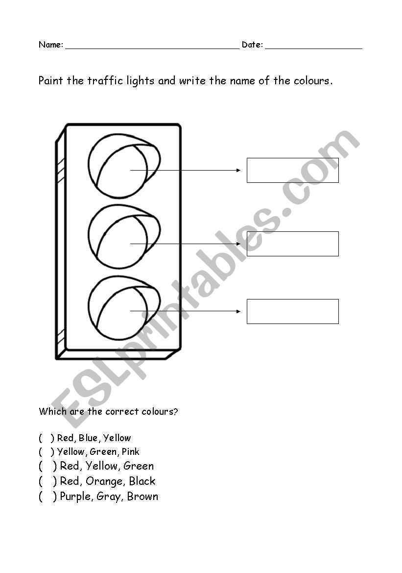 English worksheets: Colour The Traffic Light