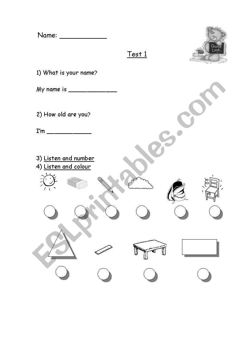 English worksheets: Test 1/ Diagnostic Test