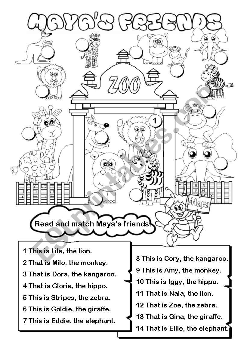 English worksheets: Maya´s friends (this / that)