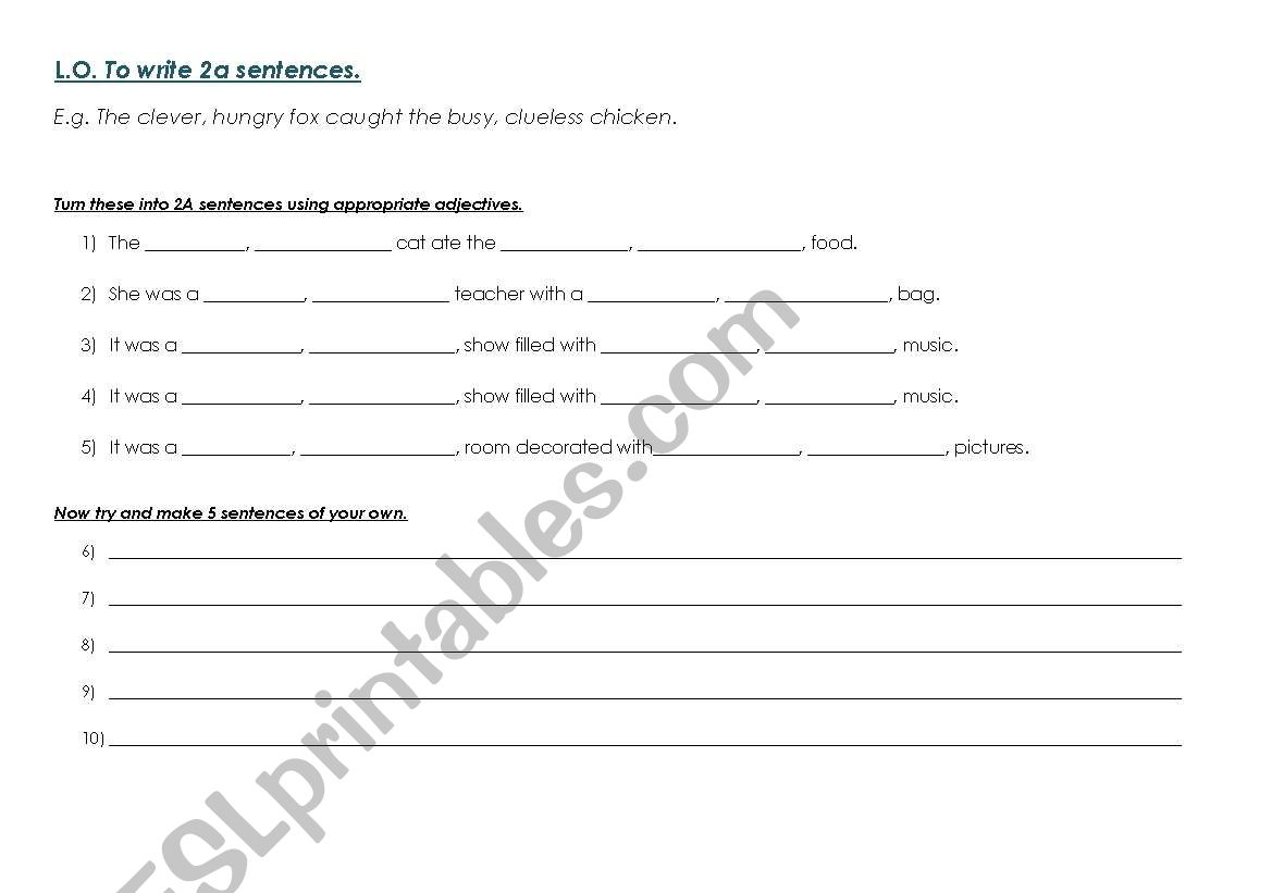 English Worksheets To Write 2a Sentences