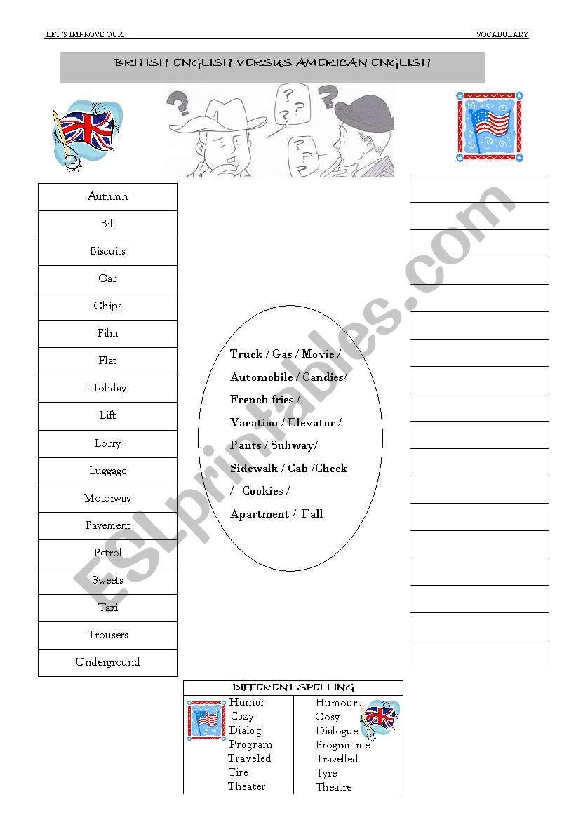 English worksheets: British and American English