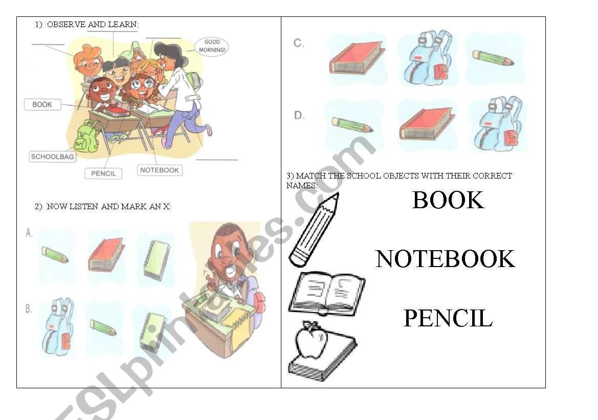 English Worksheets School Objects Worksheet