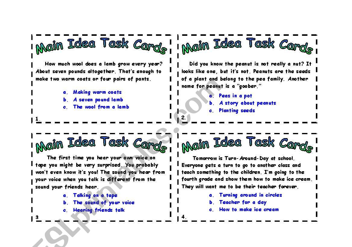 English Worksheets Main Idea Task Cards