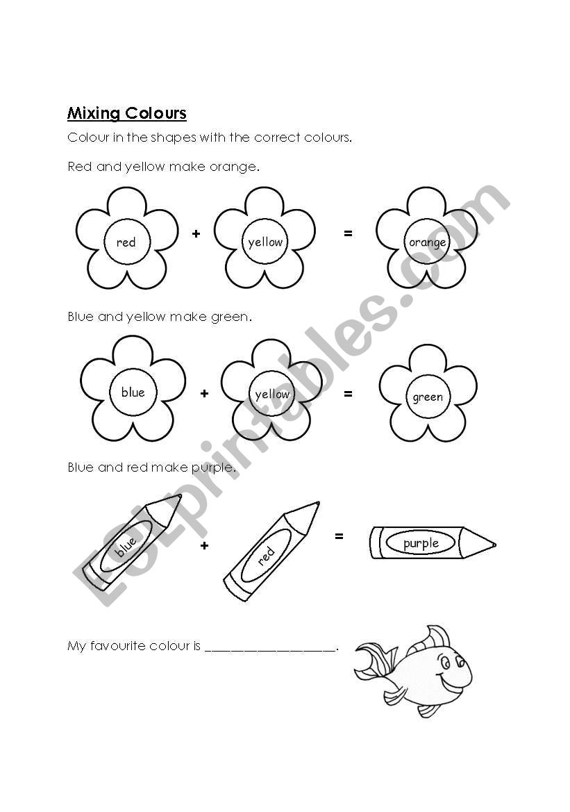 English worksheets: Mixing Colours