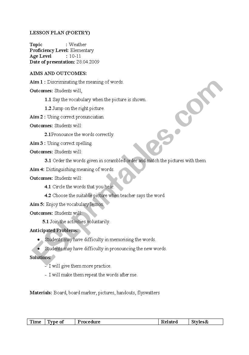 English worksheets: lesson plan for weather conditions