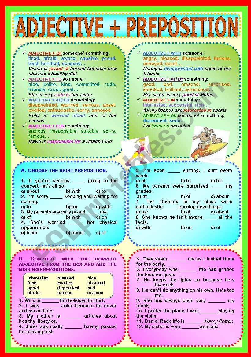 hight resolution of Adjective + Preposition - ESL worksheet by paula_esl