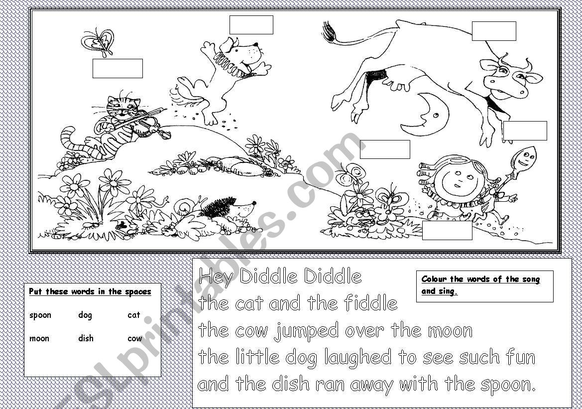 English Worksheets Hey Diddle Diddle Worksheet 3