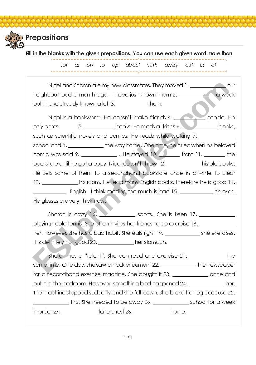 medium resolution of Prepositions (with Answer) for Grade 5 - 6 - My New Classmates - ESL  worksheet by MasalaPeace