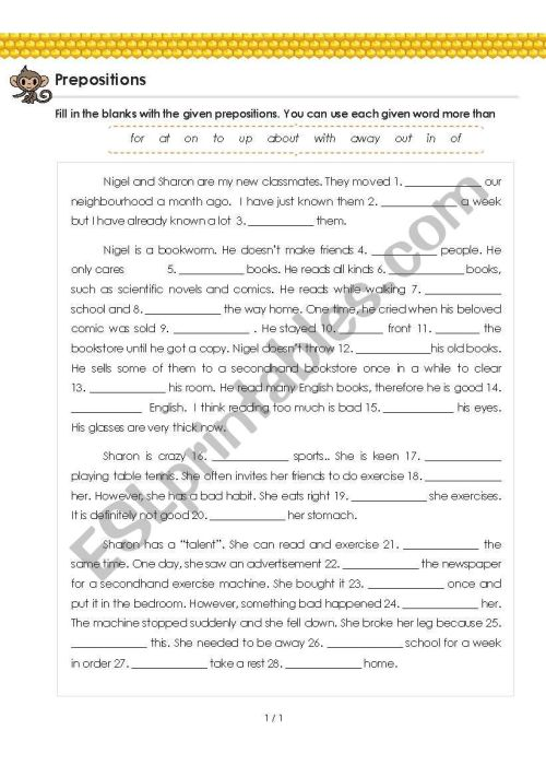 small resolution of Prepositions (with Answer) for Grade 5 - 6 - My New Classmates - ESL  worksheet by MasalaPeace
