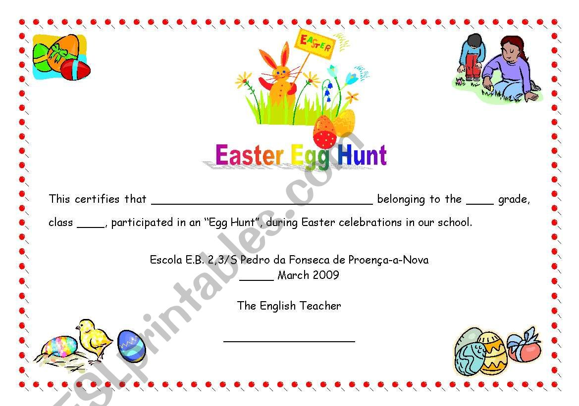 Easter Egg Hunt Certificate 07 05 09