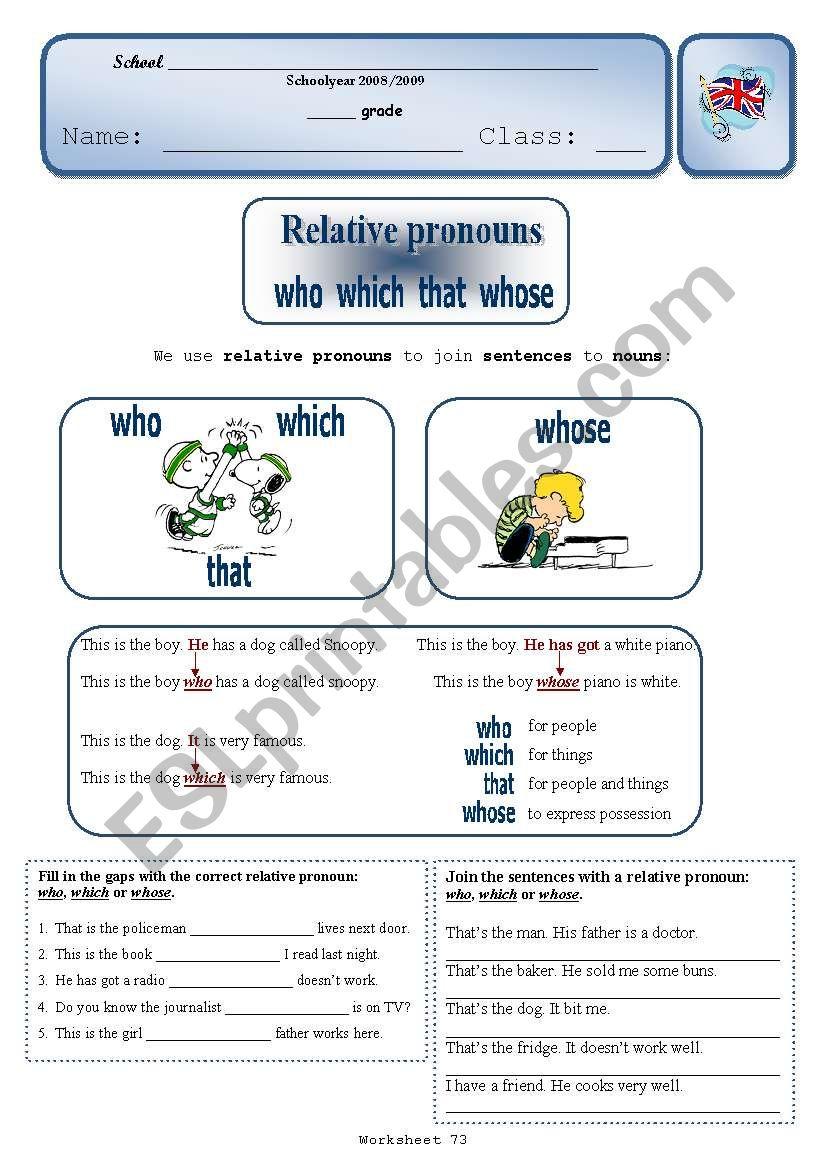hight resolution of Relative Pronouns - ESL worksheet by Sílvia73