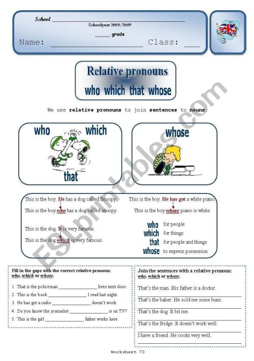 small resolution of Relative Pronouns - ESL worksheet by Sílvia73