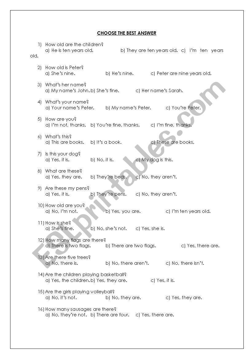 English worksheets: choose the best answer quiz