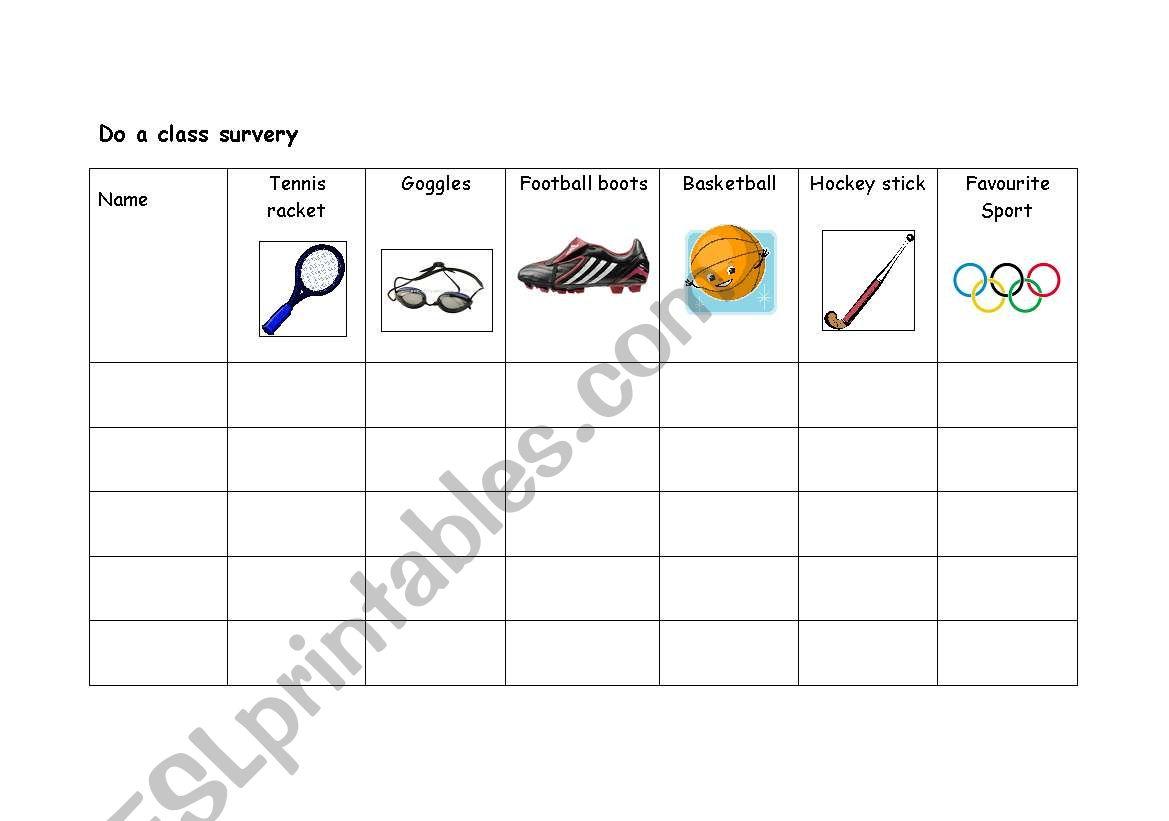 English Worksheets Class Survey