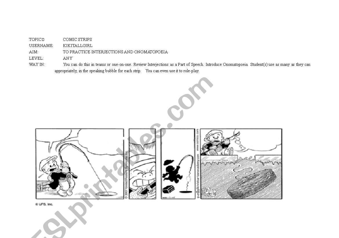 English Worksheets Comic Strip