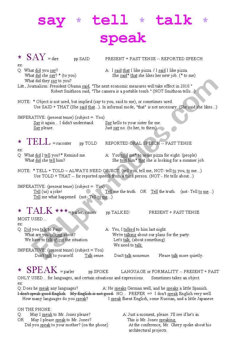 English worksheets: SAY-TELL-TALK-SPEAK