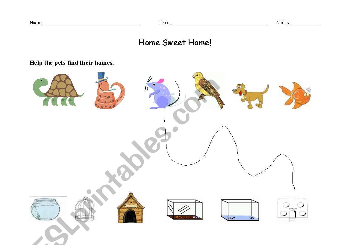 English Worksheets Pets Matching