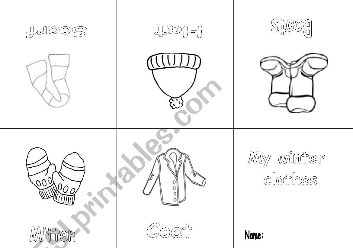 English Worksheets Winter Clothes Mini Book