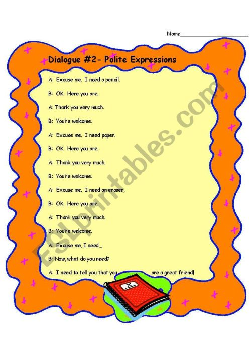 small resolution of Dialogue- Polite Expressions - ESL worksheet by thinrichsen