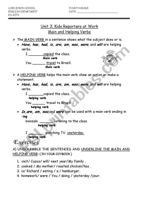 small resolution of English worksheets: HELPING VERBS