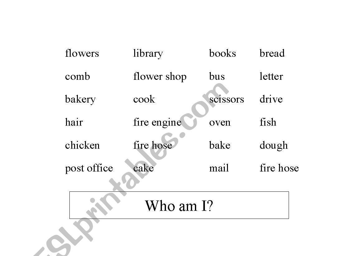 English Worksheets Riddles Jobs