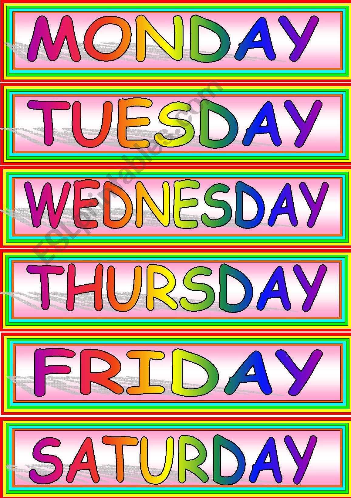 Weekdays Flash Card