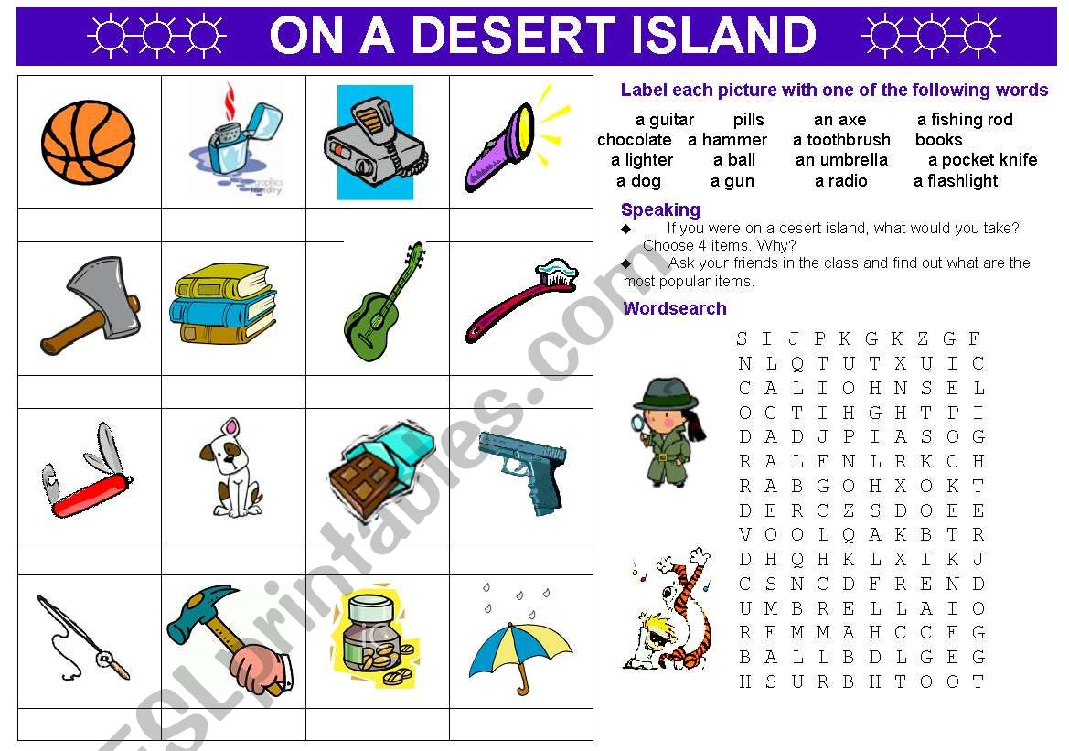 On A Desert Island Vocabulary Speaking Activity