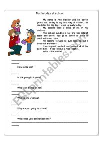 My first day at school - ESL worksheet by mihaela_m13
