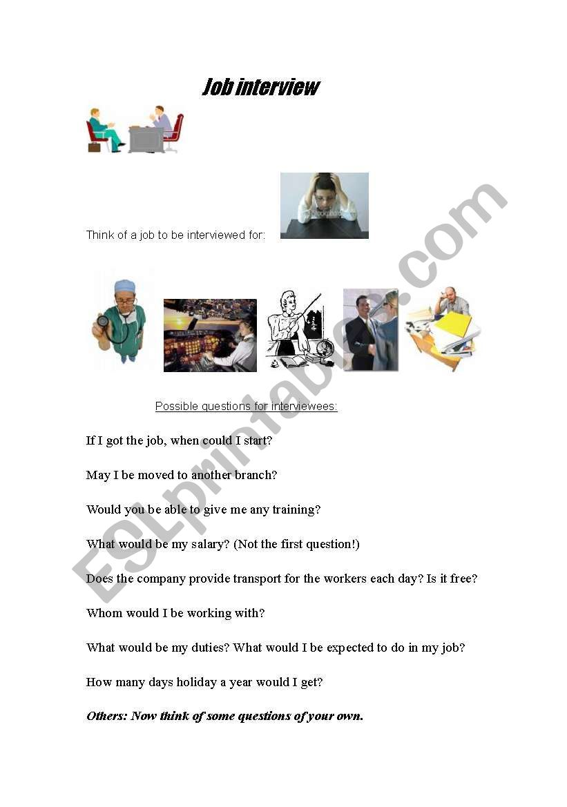 English worksheets: Job Interview Role-play