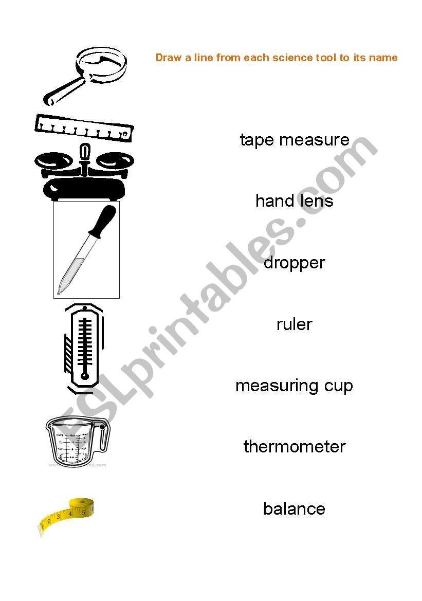 English worksheets: Science tools