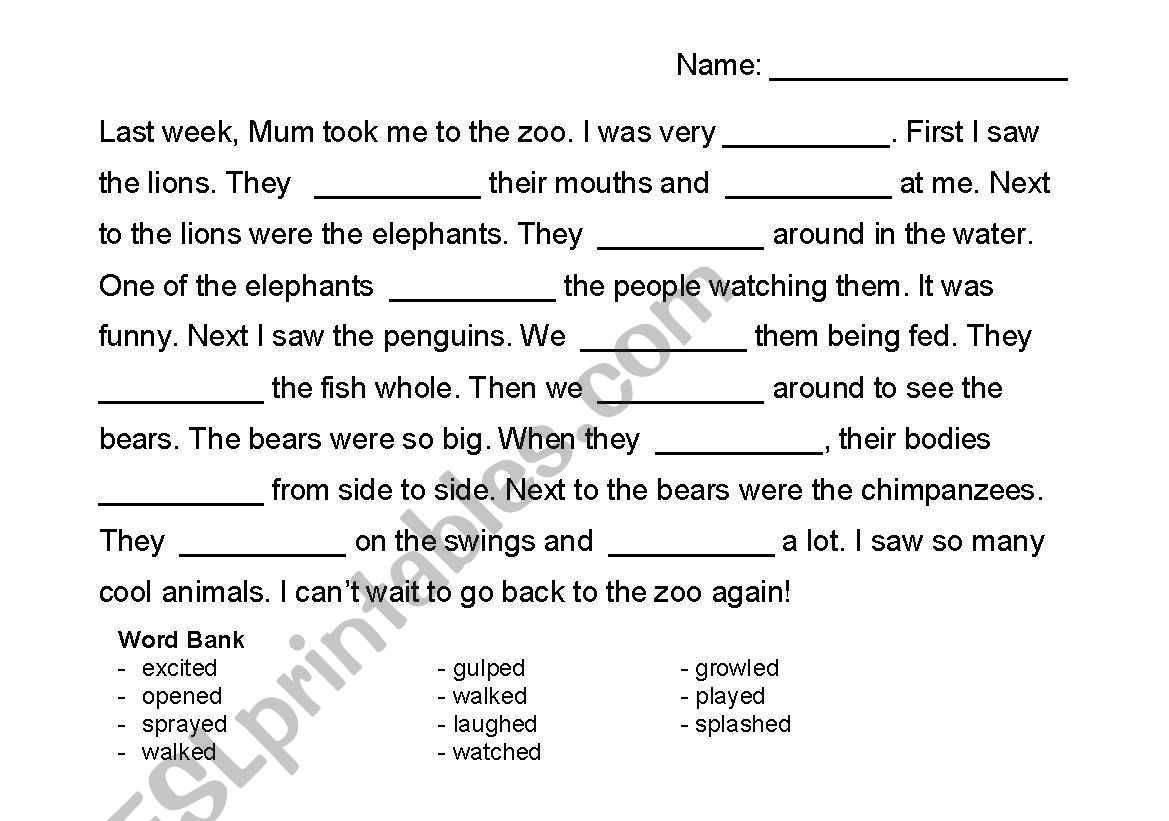 English Worksheets Regular Past Tense Cloze Passage