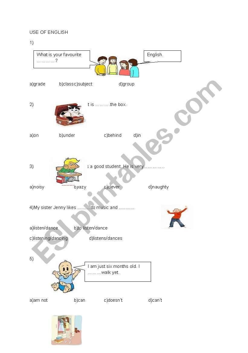 English worksheets: sbs exam