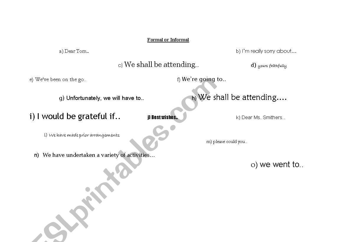 English Worksheets Formal Or Informal Register Worksheet