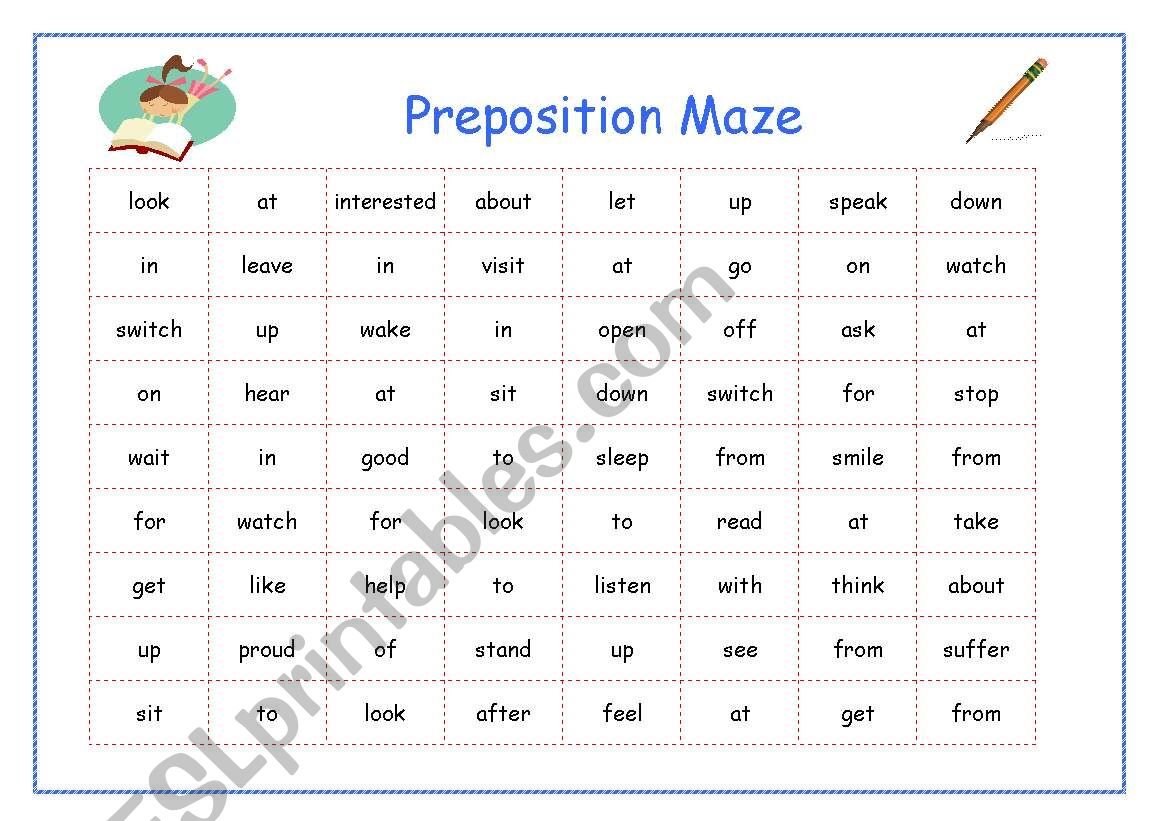 English Worksheets Preposition Maze