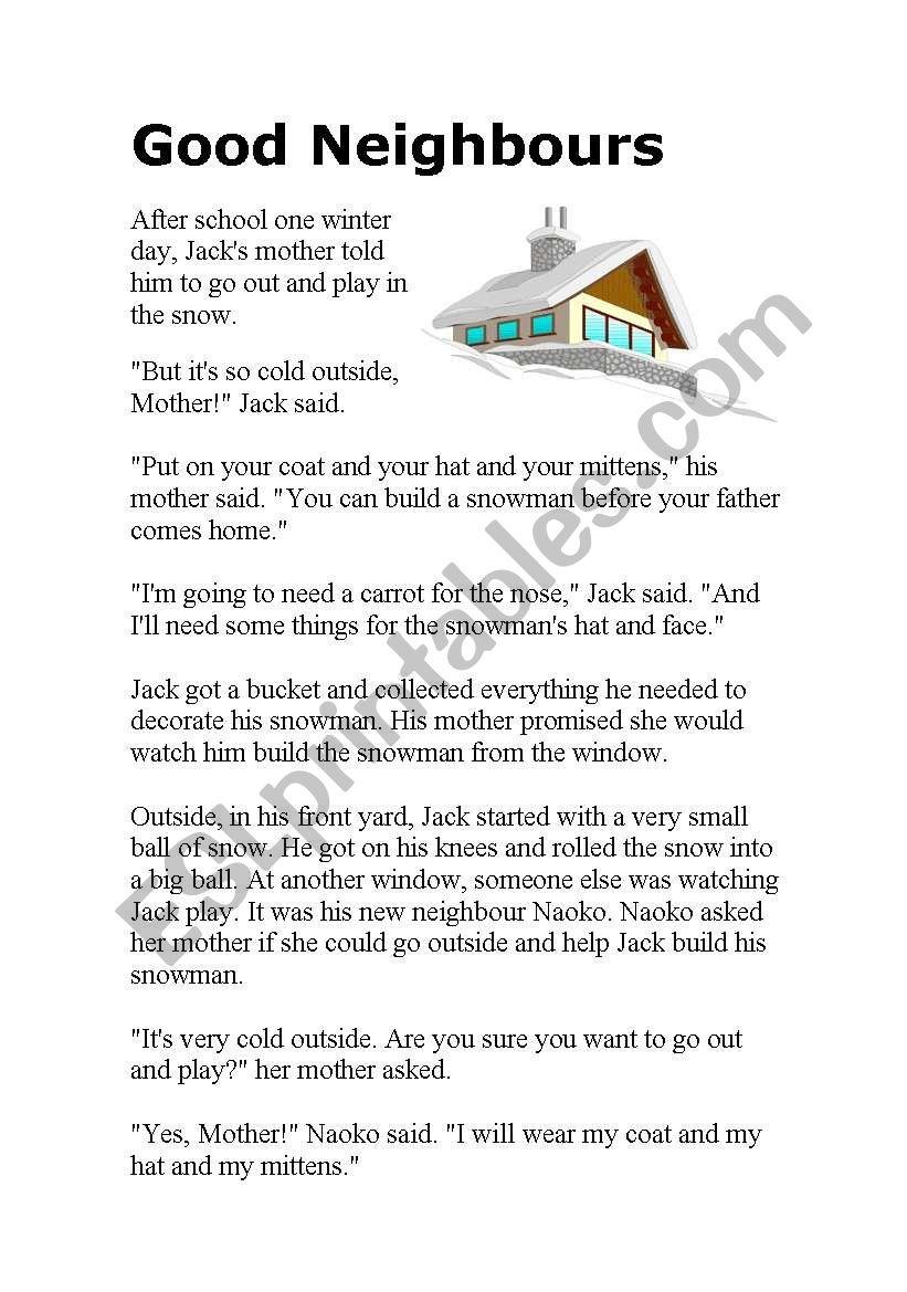 hight resolution of Good Neighbours - ESL worksheet by nina41474