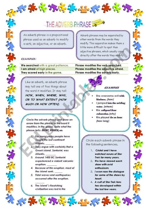 small resolution of ADVERB PHRASE - ESL worksheet by diva2402