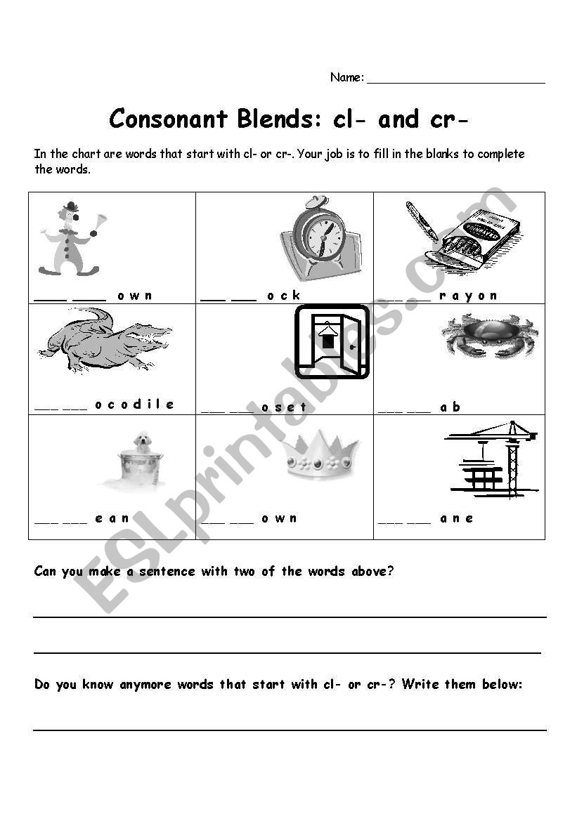 hight resolution of Consonant Blend Worksheets - Letter