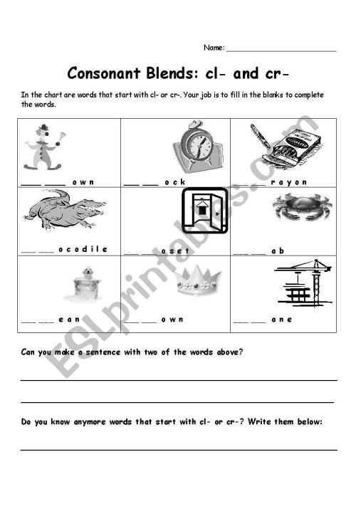 small resolution of Consonant Blend Worksheets - Letter