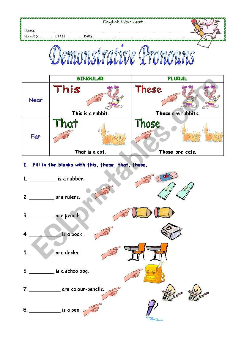 hight resolution of Demonstrative Pronouns - ESL worksheet by sivsc
