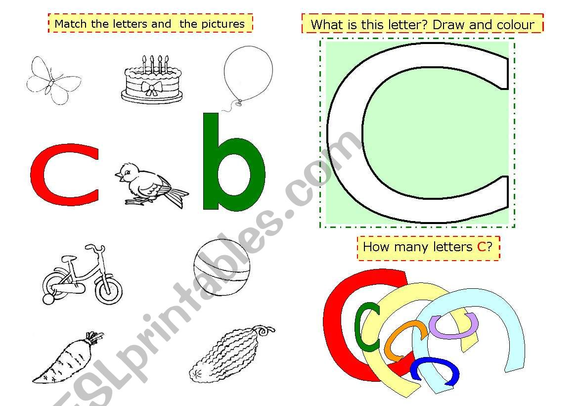English Worksheets Letter C
