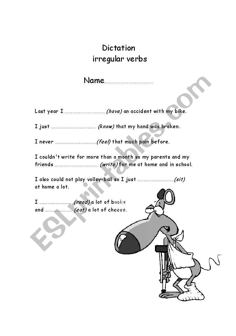 English worksheets: dictation on common irregular verbs in