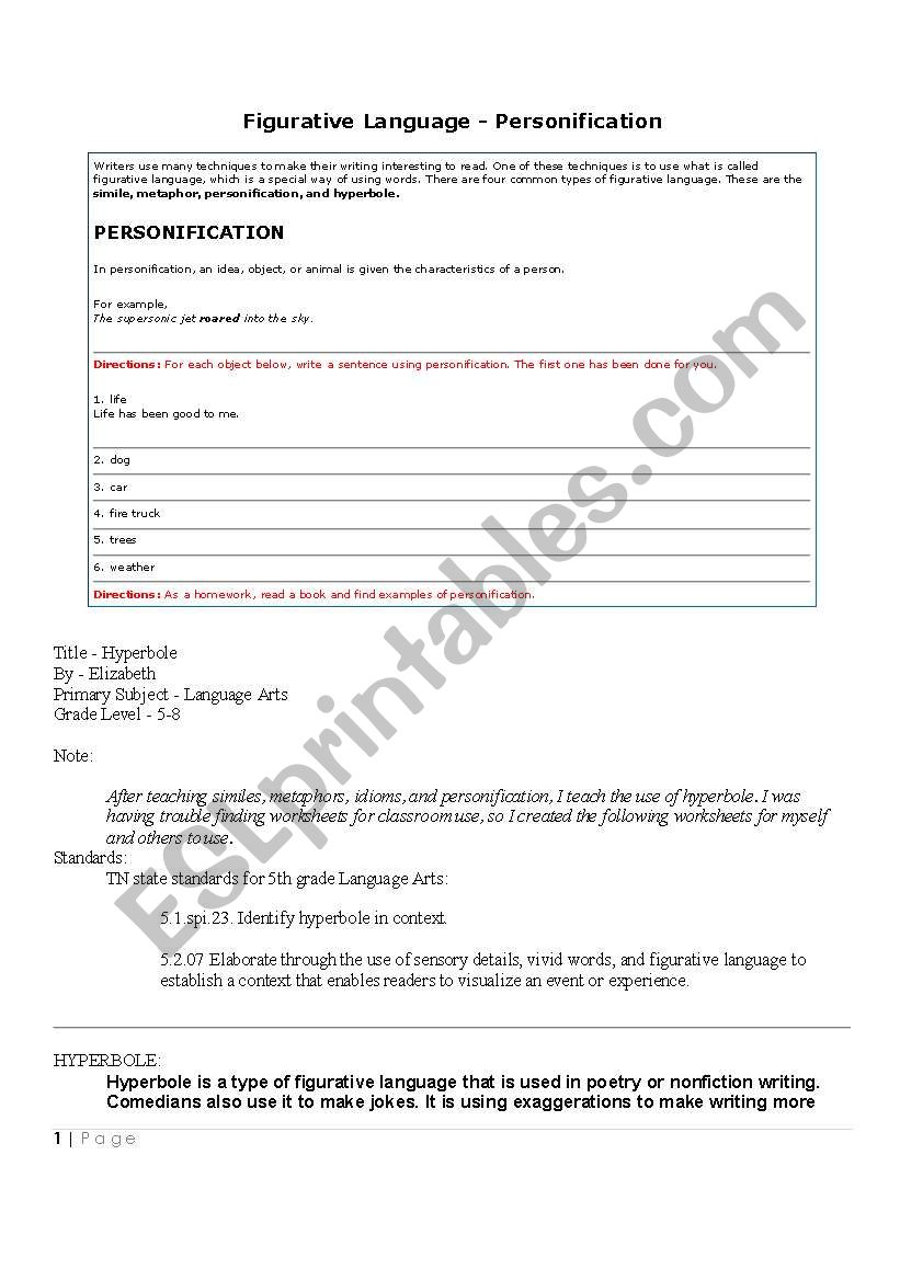 hight resolution of Hyperbole - ESL worksheet by jawwadkarim