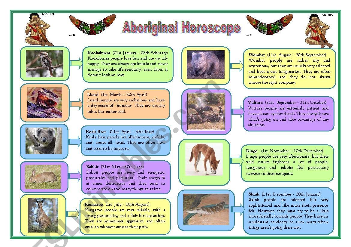 Aboriginal Horoscope Character Adjectives